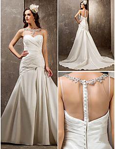 Lanting Bride® Ajusté & Evasé Petites Tailles / Grandes Tailles Robe de Mariage - Elégant & Luxueux / Brillant & Séduisant Traîne Brosse