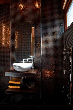 Copper Mosaic Powder Room by http://urbanavenue.co.uk/pages/about-us