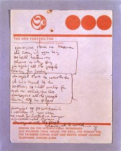 Imagine - John Lennon - Handwritten (original) lyrics for Imagine via Yoko Ono. Music Love, Music Is Life, Great Bands, Cool Bands, John Lennon Beatles, Yoko Ono, The Fab Four, All You Need Is Love, Paul Mccartney