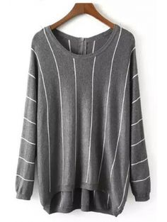 Round Collar Long Sleeve Vertical Stripe Sweater #womensfashion #pinterestfashion #buy #fun#fashion
