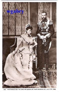 Prince George, Duke of York, and Mary of Teck on their wedding day in 1893. The future monarchs King George V and Queen Mary.