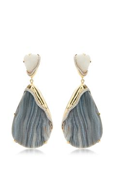 One Of A Kind 18K Gold Cocina, White Quartz, And Diamonds Petra Earrings by Kara Ross for Preorder on Moda Operandi