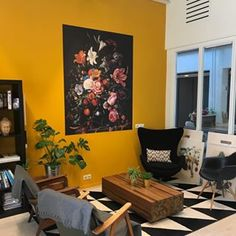 Our mini makeover at the office is ready. So happy with the new wallpaper panel, pa . Yellow Walls Living Room, Living Room Colors, Wallpaper Panels, New Wallpaper, Tropical Wall Decor, Mustard Yellow Walls, Wall Painting Decor, Office Interiors, Interior Office