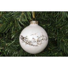Kina Ceramics Christmas Bauble With Winter Twig ($23) ❤ liked on Polyvore featuring home, home decor, holiday decorations, christmas home decor, christmas holiday decorations, white home decor and christmas holiday decor