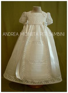 Christening Gown for Baby by Andrea Moneta Baby Girl Baptism, Christening Outfit, Baptism Dress, Christening Gowns, Smocking Baby, Blessing Dress, Communion Dresses, Heirloom Sewing, Baby Design