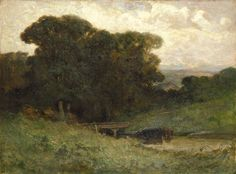 Untitled (forest scene with bridge, cows in stream in foreground) by Edward Mitchell Bannister