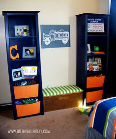 Like this for boys room, with reading spot in the middle with closed storage for quick cleanup