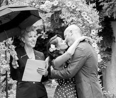 Paul and Alisha's first kiss!  A beautiful non-denominational wedding ceremony at the Bacon Mansion in Seattle, WA.