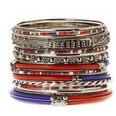 Amrita Singh Gold-Tone & Orange Bangle Set (32 CAD) ❤ liked on Polyvore featuring jewelry, bracelets, goldtone jewelry, orange bangles, amrita singh jewelry, gold tone jewelry and amrita singh jewellery