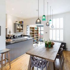 Dramatic crittall style extension - Holland and Green Shaker Style Kitchens, Home Kitchens, Grand Designs Magazine, Kitchen Upstairs, Crittall, Residential Architect, Interior Garden, House Extensions, Holland
