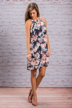 """""""Take On The Day Dress, Navy""""You will be ready to take on any day and any situation in this beauty! Those colors are so dreamy together in that dazzling floral print! #newarrivals #shopthemint"""