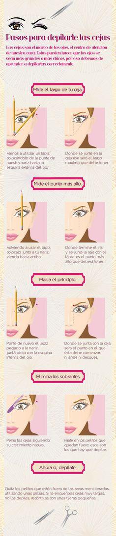 La manera correcta para depilarte las cejas. | 14 Infográficos que te ayudarán a dominar el arte del maquillaje