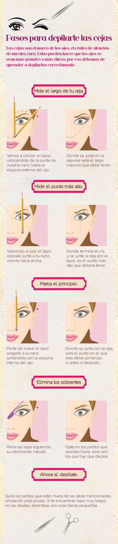 La manera correcta para depilarte las cejas. | 14 Infográficos de belleza que toda chica en sus 20 necesita