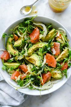 The Sicilian-inspired salad's flavor combination of fennel's sweet licorice flavor, juicy tart grapefruit and smooth avocado topped with salty Parmesan is a welcome addition to any meal any time of the year. Healthy Salad Recipes, Healthy Snacks, Vegetarian Recipes, Healthy Eating, Cooking Recipes, Arugula Salad Recipes, Side Salad Recipes, Veggie Recipes, Vegan Vegetarian