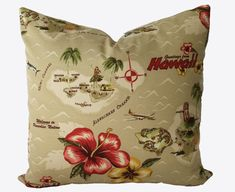 Decorative Designer Tommy Bahama Retro Hawaii Pillow Cover, or Lumbar Throw Pillow
