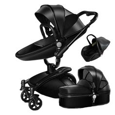 Baby-Stroller-3-in-1-Faux-Leather-Carriage-Infant-Travel-Foldable-Pram-Pushchair