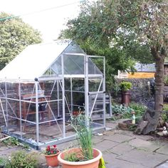 "Hybrid 6 x 6 Ft Greenhouse - Review at Wayfair.co.uk by Alison from Brighouse, GB: ""Great little greenhouse, took 2 of us around 5 hours to build (rain stopped play a few times), instructions were clear enough and all parts were present, overall very pleased with the result."" Sensitive Plant, Polycarbonate Panels, Sliding Panels, Roof Vents, Glass Supplies, Acrylic Panels, Water Collection, Mini Greenhouse, Roof Panels"