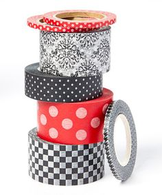 Look what I found on #zulily! Black & Red Tape - Set of Six #zulilyfinds