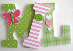 Baby Wooden Nursery Letters - Green and Pink Butterfly Theme - Custom Letter Set for Girl Bedroom