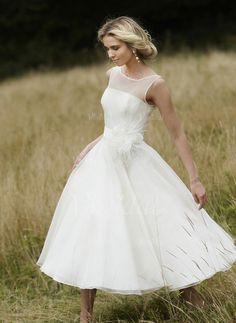 Bröllopsklänningar - $131.72 - A-linjeformat Rund-urringning Tea-lång Organzapåse Satäng Bröllopsklänning med Blomma (or) (0025059038)
