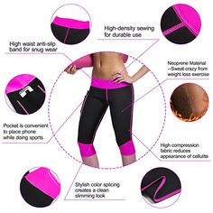 7adbd1a209 Amazon.com: Women Weight Loss Hot Neoprene Sauna Sweat Pants with Side  Pocket Workout Thighs Slimming Capris Leggings Body Shaper: Clothing