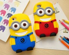 3D Cartoon Character Despicable Me 2 Minions Silicon Soft Case for iPhone 5 5s / iPhone 4 4S