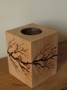Candle holdercherry blossom pyrography tea by heARTofNatureStudio