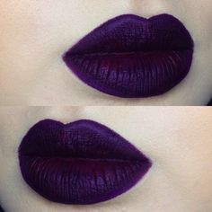 "@lasplashcosmetics liquid lipstick in ""malevolent"" is SUCH a cool shade  it's matte with a kind of Metallic finish"
