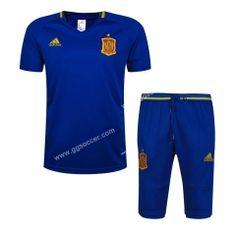 2016-17 Spain Blue Short-Sleeved Sweater Uniform
