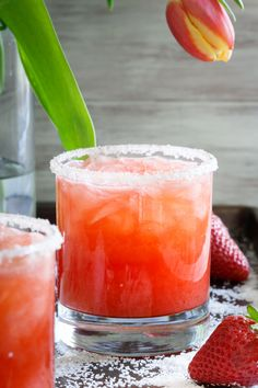 This salty dog cocktail recipe adds fresh seasonal strawberries for a spring twist to this classic drink.