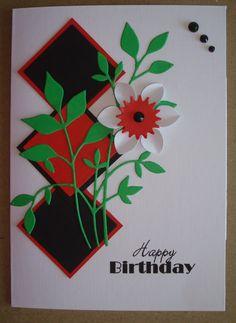 G040 Hand made birthday card using fresh foliage die