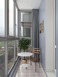 Квартира-студия: дизайн интерьера Home Room Design, Home Office Design, Interior Design Living Room, House Design, Small Balcony Design, Small Balcony Decor, Design Hall, Design Design, One Room Flat
