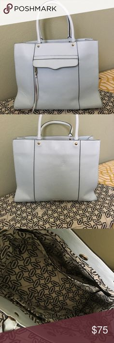 Rebecca Minkoff MAB tote Lightly worn MAB tote. Medium size. Beautiful mint color. Light wear pictured on 2 bottom corners, and handles. Clean inside. Comes with extra tassels & dust bag. Rebecca Minkoff Bags