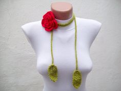 Hand crochet Lariat Scarf Red Green Flower Lariat Scarf  Long Necklace Holiday Accessories via Etsy