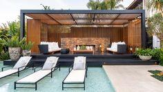 Modern Pool House, Modern Pools, Backyard Patio Designs, Pergola Designs, Outdoor Pergola, Outdoor Decor, Gazebos, Patio Kitchen, Swimming Pools Backyard