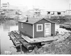 Houseboat near 1st Avenue South bridge, 1954 by Seattle Municipal Archives, via Flickr