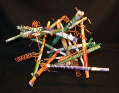 """3-D paper sculpture...could use magazine pages and pipe cleaners to twist """"sticks"""" together..."""