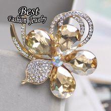 De dupla utilização moda criado strass broche de flor aeromoça cachecol jóias(China (Mainland))