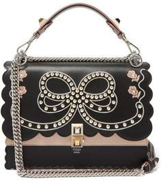30ba7a3d9568 Fendi - Kan I Bow Embroidery Leather Shoulder Bag - Womens - Black Multi  Beautiful Bags