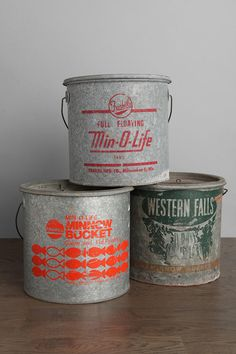 One-Of-A-Kind Vintage Bait Bucket- many of memories from our house on the lake!  who says girly girls can't bait their own hook!