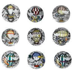 Piero Fornasetti Porcelain Plate with the Mongolfiere (Hot Air) 1950s