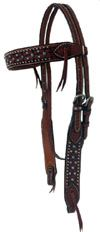 Awesome Browband, double & stitched leather, wide browband and check pieces adorned with Turquoise and chrome spots, leather ties on bit end and browband. $80.00 www.saddlebarn.com New Item, Stitching Leather, Ties, Chrome, Turquoise, Awesome, Check, Tie Dye Outfits, Neck Ties