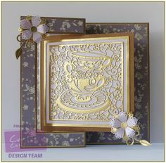 Centre Fold Back Card using Crafter's Companion Die'sire Fancy Card Blanks Centre Fold Back Card – Kraft and Die'sire Create-a-Card Tea Party Designed by Pauline Bird #crafterscompanion