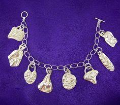 Botanical Fine Silver Charm Bracelet - PMC Natural Imprints - Precious Metal Clay - Nature Impressions. $98.98, via Etsy.