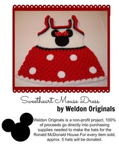 minnie mouse dress Crochet Disney, Crochet Baby, Disney Dolls, Mickey Minnie Mouse, Baby Items, Girly, Diy Crafts, Doll Dresses, Hats
