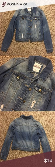 distressed denim jacket only worn once or twice, so is in good condition, i just have too many denim jackets! has some minor rips & fading, as can be seen in pics, for that distressed look. size SMALL. 16in from armpit to armpit when buttoned & 20in in length. Mudd Jackets & Coats Jean Jackets