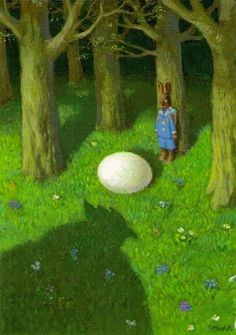 Easter bunny with egg by giant chicken illustration by Michael Sowa