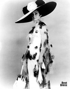 "Audrey Hepburn modeling a gown and hat for the Ascot scene in ""My Fair Lady"", 1963 ~ costume design and photography by Cecil Beaton My Fair Lady, Golden Age Of Hollywood, Old Hollywood, Hollywood Glamour, Hollywood Stars, Audrey Hepburn Photos, Audrey Hepburn Hat, Eliza Doolittle, Cecil Beaton"