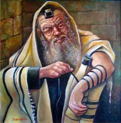 A Beautiful Jewish Art oil painting for sale of Tefilin by Israel Rubinstein. only at www.judaica-art.com