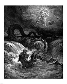 "Leviathan - a biblical sea monster reffered to in the old testament, depicted here in this 1865 engraving by Gustave Dore entitled ""Destruction of Leviathan. Art And Illustration, Gravure Illustration, Art Illustrations, Gustave Dore, Arte Obscura, Sea Monsters, Wassily Kandinsky, Wood Engraving, Vincent Van Gogh"